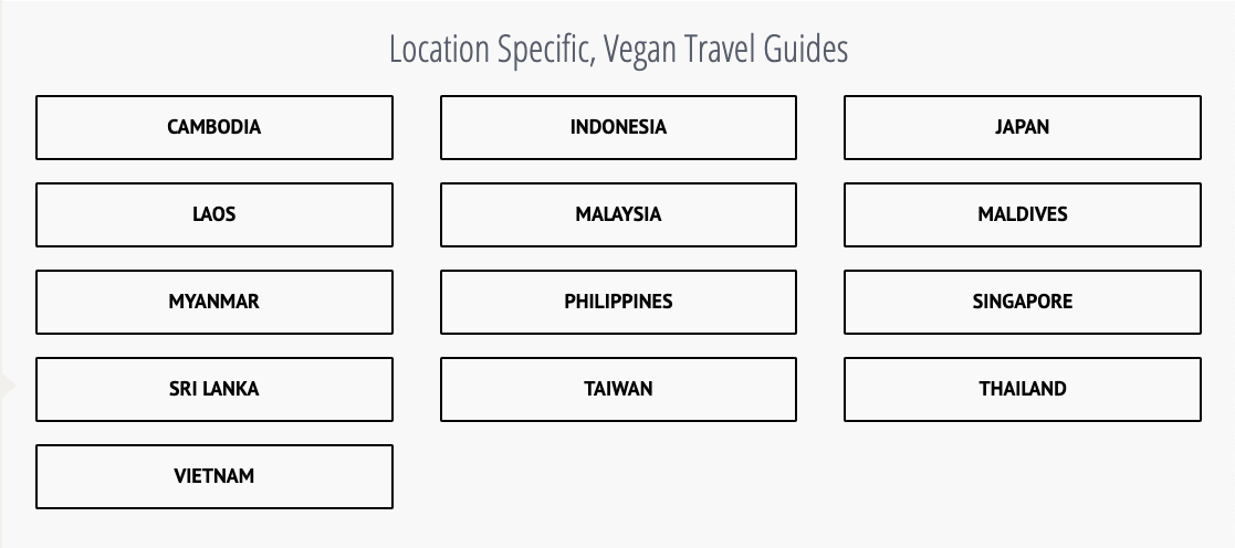 location specific travel vegan guide