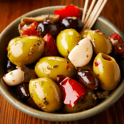 spiced mixed olives