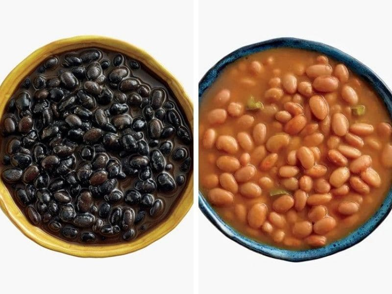 black and pinto beans