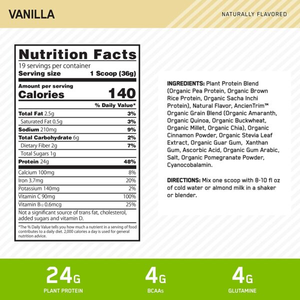 optimum nutrition plant based protein nutritional profile